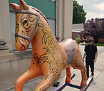 "A view of ""Tribal Tatoo Horse"" created by artist, Grey Ivor Morris, one of the ""Rockin' Around Saugerties"" theme Statues on display throughout the Village of Saugerties, NY, on Friday, May 26, 2017. Photo by Jim Peppler. Copyright/Jim Peppler-2017."