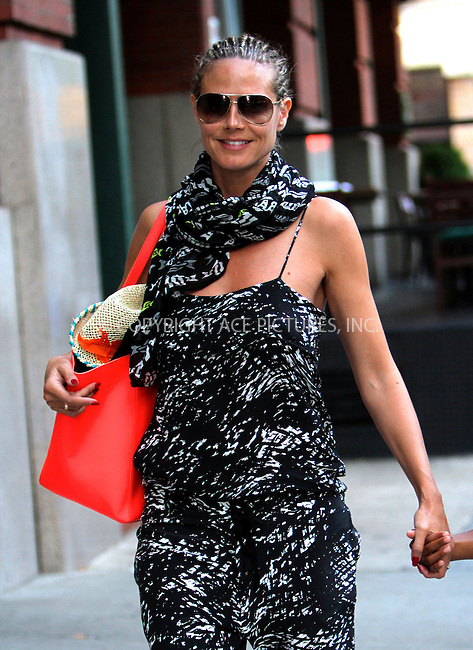WWW.ACEPIXS.COM<br /> <br /> July 7 2013, New York City<br /> <br /> Heidi Klum goes for a walk with her family in Tribeca on July 7 2013 in New York City<br /> <br /> By Line: Nancy Rivera/ACE Pictures<br /> <br /> <br /> ACE Pictures, Inc.<br /> tel: 646 769 0430<br /> Email: info@acepixs.com<br /> www.acepixs.com