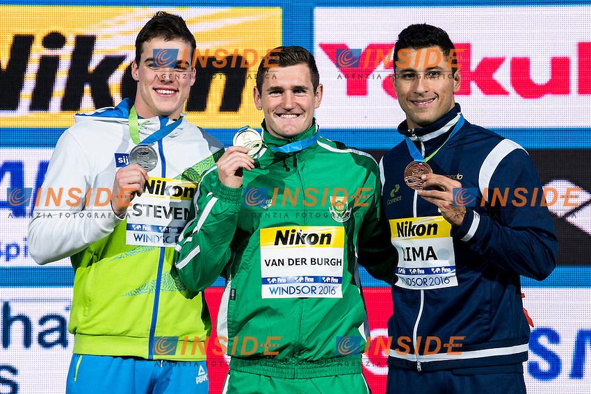 VAN DER BURGH Cameron RSA Gold Medal<br /> STEVENS Peter SLO Silver Medal<br /> LIMA Felipe BRA Bronze Medal<br /> Men's 50m Breaststroke<br /> 13th Fina World Swimming Championships 25m <br /> Windsor  Dec. 11th, 2016 - Day06 Finals<br /> WFCU Centre - Windsor Ontario Canada CAN <br /> 20161211 WFCU Centre - Windsor Ontario Canada CAN <br /> Photo &copy; Giorgio Scala/Deepbluemedia/Insidefoto