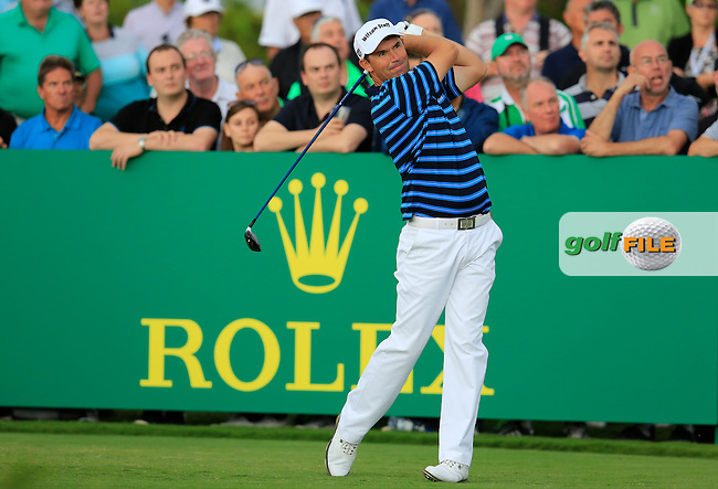 Padraig Harrington (IRL) tees off the 15th tee during Sunday's Final Round of the 2016 Portugal Masters held at the Oceanico Victoria Golf Course, Vilamoura, Algarve, Portugal. 23rd October 2016.<br /> Picture: Eoin Clarke | Golffile<br /> <br /> <br /> All photos usage must carry mandatory copyright credit (&copy; Golffile | Eoin Clarke)