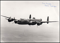 BNPS.co.uk (01202 558833)<br /> Pic: IAA/BNPS<br /> <br /> Photograph by Sumpter, the image depicting a bomber aircraft in flight.<br /> <br /> This poignant piece of paper charting the fate of the 19 Dambusters' crews highlights the cruel and random nature of the famous World War Two raid. <br /> <br /> Flight Sergeant Leonard Sumpter got hold of a typed list of all the RAF bombers involved in Operation Chastise and ticked off the unfortunate crews which didn't make it back.<br /> <br /> Of the 19 Lancaster bombers, eight were shot down resulting in the deaths of 53 airmen. Two others had to return to England after developing faults.<br /> <br /> The crew list has now emerged for sale for &pound;800.
