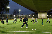 Kickz football training session run by the Arsenal community team at the new pitches under the Westway at Westminster Academy  Sport Centre, Harrow Road.