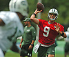 Bryce Petty #9, New York Jets quarterback, throws a pass during the first team practice of training camp at the Atlantic Health Jets Training Center in Florham Park, NJ on Saturday, July 29, 2017.