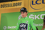 Geraint Thomas (WAL) Team Sky wins Stage 1, a 14km individual time trial around Dusseldorf, and also the 1st points Green Jersey of the 104th edition of the Tour de France 2017, Dusseldorf, Germany. 1st July 2017.<br /> Picture: Eoin Clarke | Cyclefile<br /> <br /> <br /> All photos usage must carry mandatory copyright credit (&copy; Cyclefile | Eoin Clarke)