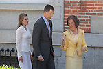 Queen Sofia of Spain (R), Prince Felipe of Spain (C) and Princess Letizia of Spain receive Mexico´s President Enrique Pena Nieto and his wife Angelica Rivera at Zarzuela Palace in Madrid, Spain. June 09, 2013. (ALTERPHOTOS/Victor Blanco)