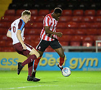 Lincoln City U18's Jordan Adebayo-Smith vies for possession with South Shieldsy U18's Adam Onarbay<br /> <br /> Photographer Chris Vaughan/CameraSport<br /> <br /> The FA Youth Cup Second Round - Lincoln City U18 v South Shields U18 - Tuesday 13th November 2018 - Sincil Bank - Lincoln<br />  <br /> World Copyright © 2018 CameraSport. All rights reserved. 43 Linden Ave. Countesthorpe. Leicester. England. LE8 5PG - Tel: +44 (0) 116 277 4147 - admin@camerasport.com - www.camerasport.com