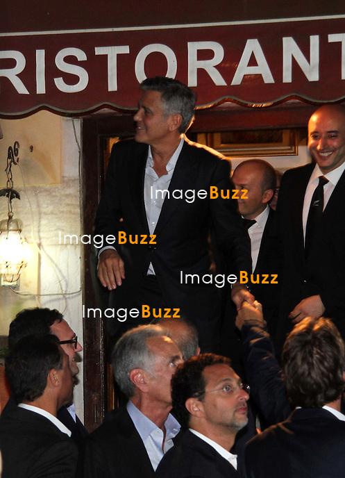 GEORGE CLOONEY &amp; AMAL ALAMUDDIN CELEBRATE STAG NIGHT EVENT AT DA IVO RESTAURANT IN VENICE - <br /> George Clooney &amp; British fiancee Amal Alamuddin celebrate their stag night event at the Da Ivo restaurant in Venice, prior to their wedding day. <br /> Robert De Niro, Matt Damon, Brad Pitt and Cate Blanchett were among the other stars, like Cindy Crawford, Rande Geber, Bill Murray, Emily Blunt.<br /> Italy, Venice, 26 September, 2014.