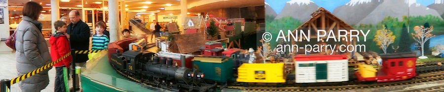 Panorama of Long Island Garden Railway Society display at Cradle of Aviation Museum, 2012-12-26