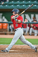 Jake Jarvis (11) of the Great Falls Voyagers at bat against the Ogden Raptors in Pioneer League action at Lindquist Field on July 16, 2015 in Ogden, Utah. Ogden defeated Great Falls 5-2. (Stephen Smith/Four Seam Images)