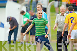 Feale Rangers manager Brian Scanlon celebrates his teams win against Mid Kerry in the First Round of the Kerry Senior Football Championship at O'Rahilly Park Ballylongford on Sunday.