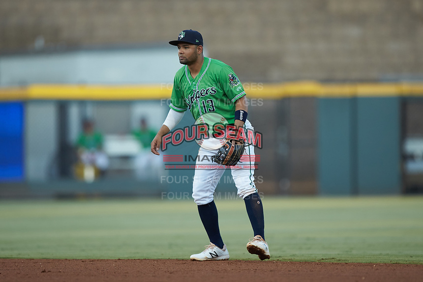 Gwinnett Stripers second baseman Andres Blanco (13) on defense against the Scranton/Wilkes-Barre RailRiders at Coolray Field on August 16, 2019 in Lawrenceville, Georgia. The Stripers defeated the RailRiders 5-2. (Brian Westerholt/Four Seam Images)