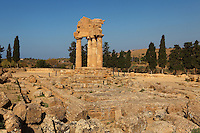 General view of Temple Of Castor and Pollux, late 5th century BC, Agrigento, Sicily, Italy,  pictured on September 12, 2009, in the morning. Only four columns and part of the entablature of the Temple of Castor and Pollux or of the Dioscuri remain, a rosette on the corner. In 1836 the temple was excavated and restored by archeologists Villareale and Cavallari, commissioned by the Duke of Serradifalco. The Valley of the Temples is a UNESCO World Heritage Site. Picture by Manuel Cohen.