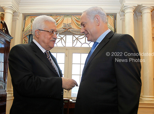 Prime Minister Benjamin Netanyahu of Israel, right, confers with President  Mahmoud Abbas of the Palestinian Authority in the Monroe Room of the State Department in Washington, Thursday, September 2, 2010, moments before their direct talks aimed at peace in the Middle East.    .Credit: Jason Reed / Pool via CNP
