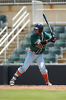Chris Torres (20) of the Greensboro Grasshoppers at bat against the Kannapolis Intimidators at Kannapolis Intimidators Stadium on August 5, 2018 in Kannapolis, North Carolina. The Grasshoppers defeated the Intimidators 2-1 in game one of a double-header.  (Brian Westerholt/Four Seam Images)