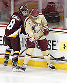 Alivia Del Basso (UMD - 8), Lexi Bender (BC - 21) -  - The visiting University of Minnesota Duluth Bulldogs defeated the Boston College Eagles 3-2 on Thursday, October 25, 2012, at Kelley Rink in Conte Forum in Chestnut Hill, Massachusetts.