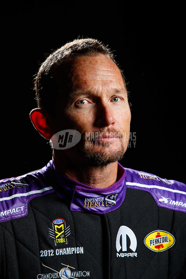 Feb 8, 2017; Pomona, CA, USA; NHRA funny car driver Jack Beckman poses for a portrait during media day at Auto Club Raceway at Pomona. Mandatory Credit: Mark J. Rebilas-USA TODAY Sports