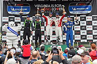 Michelin Man #60 KohR Motorsports Ford Mustang GT4, GS: Nate Stacy, Kyle Marcelli, #39 Carbahn Motorsports Audi R8, GS: Tyler McQuarrie, Jeff Westphal, #80 BimmerWorld Racing BMW M4 GT4, GS: Ari Balogh, Mike Skeen celebrate the win the podium