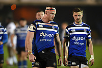 Will Britton and Tom De Glanville of Bath United look dejected after the final whistle. Premiership Rugby Shield match, between Bath United and Gloucester United on April 8, 2019 at the Recreation Ground in Bath, England. Photo by: Patrick Khachfe / Onside Images