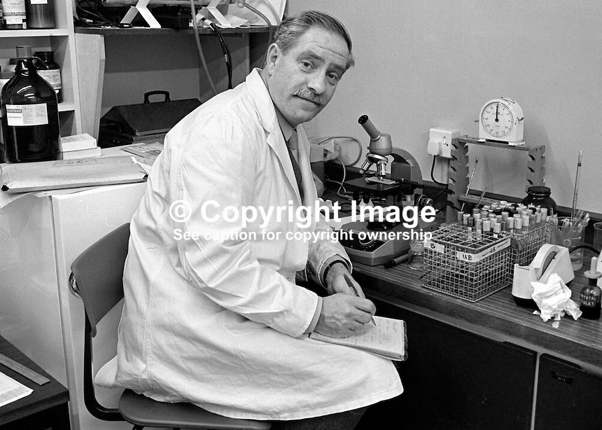 Professor Patrick D'Arcy, Department of Pharmacy, Queen's University, Belfast, N Ireland, UK, who is involved in research on the contraceptive pill. 197602190100PDA1.<br /> <br /> Copyright Image from Victor Patterson,<br /> 54 Dorchester Park, <br /> Belfast, UK, BT9 6RJ<br /> <br /> t1: +44 28 9066 1296 (from Rep of Ireland 048 9066 1296)<br /> t2: +44 28 9002 2446 (from Rep of Ireland 048 9002 2446)<br /> <br /> m: +44 7802 353836<br /> <br /> e: victorpatterson@me.com<br /> www.victorpatterson.com<br /> <br /> Please see my Terms and Conditions of Use at www.victorpatterson.com. It is IMPORTANT that you familiarise yourself with them.<br /> <br /> Images used on the Internet must be visibly watermarked i.e. &copy; Victor Patterson<br /> within the body of the image and copyright metadata must not be deleted. Images <br /> used on the Internet have a size restriction of 4kbs and will be chargeable at current<br />  NUJ rates unless agreed otherwise.<br /> <br /> This image is only available for the use of the download recipient i.e. television station, newspaper, magazine, book publisher, etc, and must not be passed on to any third <br /> party. It is also downloaded on condition that each and every usage is notified within 7 days to victorpatterson@me.com<br /> <br /> The right of Victor Patterson to be identified as the author is asserted in accordance with The Copyright Designs And Patents Act (1988). All moral rights are asserted.