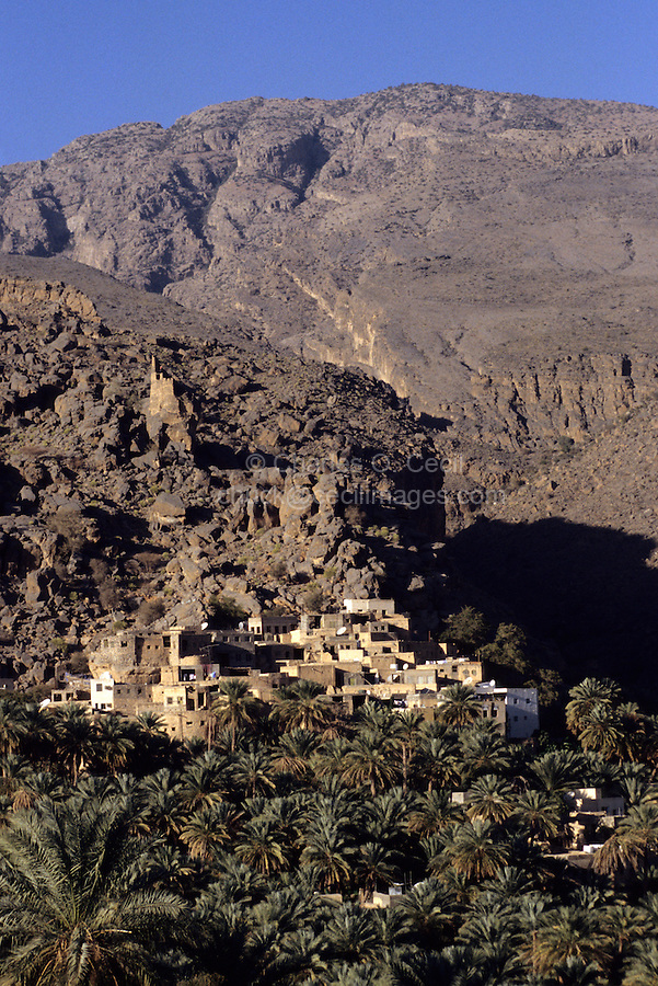 Misfah al-Abriyeen, Jebal Akhdar, Oman, Arabian Peninsula, Middle East - Mountain village in Oman's northern interior. Note the ruins of the guard tower high above the town.