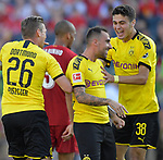 Football: Test Match, Liverpool FC - Borussia Dortmund. Dortmund teammates Borussia Dortmund defender Lukasz Piszczek (26, left) and Borussia Dortmund forward Giovanni Reyna (38, right) congratulate Borussia Dortmund forward Paco Alcacer (9) after his goal early in their exhibition match on July 19, 2019 at Notre Dame Stadium. <br /> Tim Vizer/DPA