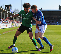 Lincoln City's Lee Angol vies for possession with Eastleigh's Adam Dugdale<br /> <br /> Photographer Andrew Vaughan/CameraSport<br /> <br /> Vanarama National League - Eastleigh v Lincoln City - Saturday 8th April 2017 - Silverlake Stadium - Eastleigh<br /> <br /> World Copyright &copy; 2017 CameraSport. All rights reserved. 43 Linden Ave. Countesthorpe. Leicester. England. LE8 5PG - Tel: +44 (0) 116 277 4147 - admin@camerasport.com - www.camerasport.com