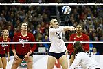 KANSAS CITY, KS - DECEMBER 14: Tori Gorrell #11 of Penn State University hits a bump against the University of Nebraska during the Division I Women's Volleyball Semifinals held at Sprint Center on December 14, 2017 in Kansas City, Missouri. (Photo by Tim Nwachukwu/NCAA Photos via Getty Images)