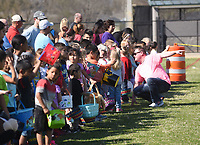 NWA Democrat-Gazette/FLIP PUTTHOFF <br />EGGS THIS WAY<br />Rogers Mayor Greg HInes (right) talks with youngsters before the start on Saturday March 24 2018 of the  Mayor's Easter Egg Hunt in Rogers at Veterans Park. Youngsters 9 and under picked up 11,000 plastic eggs filled with prizes during the Easter egg hunt. Acttivies also included an inflatable playground and an array of games for kids.