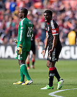 Brandon McDonald (4) of D.C. United tells to a refreree after a goal was scored on his team during the game at the RFK Stadium in Washington DC.  Philadelphia defeated D.C. United, 3-2.