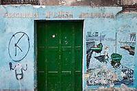 Europe/Espagne/Pays Basque/Guipuscoa/Goierri/Ordizia: Mur peint sur la façade d'une vieille poissonnerie