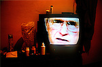 President George Bush on a television in Casa Argentina, a low-rate hostel for backpackers in the Guatemalan highland town of Xela (Quetzaltenango)