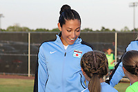 Piscataway, NJ - Saturday Aug. 27, 2016: Christen Press prior to a regular season National Women's Soccer League (NWSL) match between Sky Blue FC and the Chicago Red Stars at Yurcak Field.