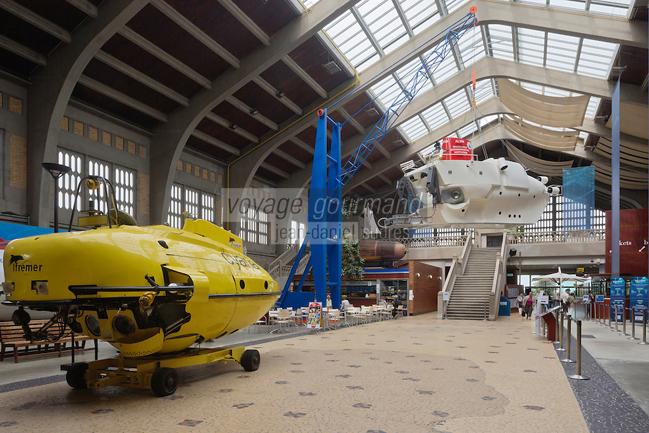 Europe/France/Normandie/Basse-Normandie/50/Cherbourg:  La Cité de la Mer, Parc scientifique et ludique - La Grande Galerie des Engins et des Hommes présente dans la Nef d'Accueil une collection d'engins sous-marins internationaux  // France, Manche, Cherbourg, Cite de la Mer, City of the sea: the hall
