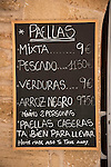 Menu for street side restaurant, Ancient walled city of Alcudia, Mallorca