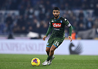 11th January 2020; Stadio Olympico, Rome, Italy; Serie A Football, Lazio versus Napoli; Lorenzo Insigne of Napoli looks for an outlet as he moves forward on the ball - Editorial Use