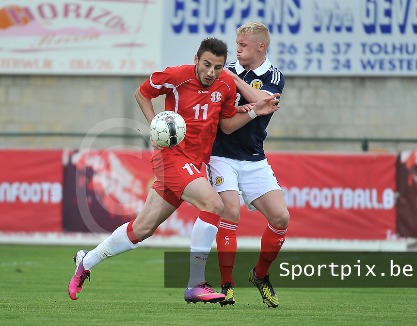 Scotland U19 - Georgia U19 : Nika Kacharava (11) and Jack Grimmer (3).foto DAVID CATRY / Nikonpro.be