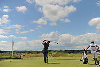 Eddie Pepperell (ENG) watches his tee shot on 7 during Sunday's round 4 of the 117th U.S. Open, at Erin Hills, Erin, Wisconsin. 6/18/2017.<br /> Picture: Golffile | Ken Murray<br /> <br /> <br /> All photo usage must carry mandatory copyright credit (&copy; Golffile | Ken Murray)
