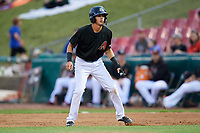 Kane County Cougars shortstop Ryan Dobson (4) leads off first base during a game against the South Bend Cubs on July 21, 2018 at Northwestern Medicine Field in Geneva, Illinois.  South Bend defeated Kane County 4-2.  (Mike Janes/Four Seam Images)