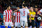 Referee William Collum shows Dimitris Nikolaou of Olympiacos FC the yellow card during the UEFA Champions League 2017-18 match between FC Barcelona and Olympiacos FC at Camp Nou on 18 October 2017 in Barcelona, Spain. Photo by Vicens Gimenez / Power Sport Images