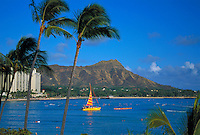 Diamond head with catamaran and outrigger canoe, Oahu
