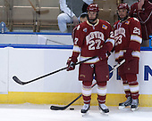 (Meldrum) Quentin Shore (DU - 27), Matt Marcinew (DU - 23) - The Boston College Eagles defeated the University of Denver Pioneers 6-2 in their NCAA Northeast Regional semi-final on Saturday, March 29, 2014, at the DCU Center in Worcester, Massachusetts.