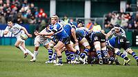 Photo: Richard Lane/Richard Lane Photography. Bath Rugby v Leinster. Heineken Cup. 11/12/2011. Bath's Michael Claassens passes.