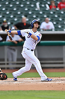 Tennessee Smokies second baseman Daniel Lockhart (5) swings at a pitch during a game against the Jackson Generals at Smokies Stadium on July 5, 2016 in Kodak, Tennessee. The Generals defeated the Smokies 6-4. (Tony Farlow/Four Seam Images)