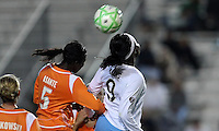 Chicago's Danesha Adams (9) flicks the ball over Sky Blue defender Anita Asante (5).  Sky Blue defeated the Chicago Red Stars 1-0 in a mid-week game, Wednesday, June 17, at Yurcak Field.