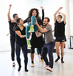 """The cast during a press Sneak-Peek for The Joyce Theater's presentation of """"Freddie Falls in Love"""" at Gibney Dance on July 15, 2019 in New York City."""