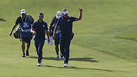 Ian Poulter (Team Europe) & Rory McIlroy (Team Europe) soak up the applause on the 7th during Friday's Foursomes, at the Ryder Cup, Le Golf National, Île-de-France, France. 28/09/2018.<br /> Picture David Lloyd / Golffile.ie<br /> <br /> All photo usage must carry mandatory copyright credit (© Golffile | David Lloyd)