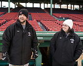 Matt Nareski (NU - Equipment Manager), Brenda Maguire - The Northeastern University Huskies practice on the ice at Fenway Park on Thursday, January 7, 2010, in Boston, Massachusetts.