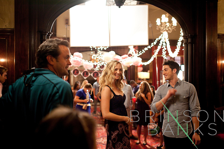 Candice Accola and Michael Trevino on the set between scenes shot for the season three premiere on the set of The Vampire Diaries in Decatur, Georgia July 18, 2011.