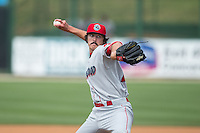 Lakewood BlueClaws relief pitcher Jason Zgardowski (27) in action against the Kannapolis Intimidators at CMC-Northeast Stadium on May 17, 2015 in Kannapolis, North Carolina.  The Intimidators defeated the BlueClaws 4-1.  (Brian Westerholt/Four Seam Images)