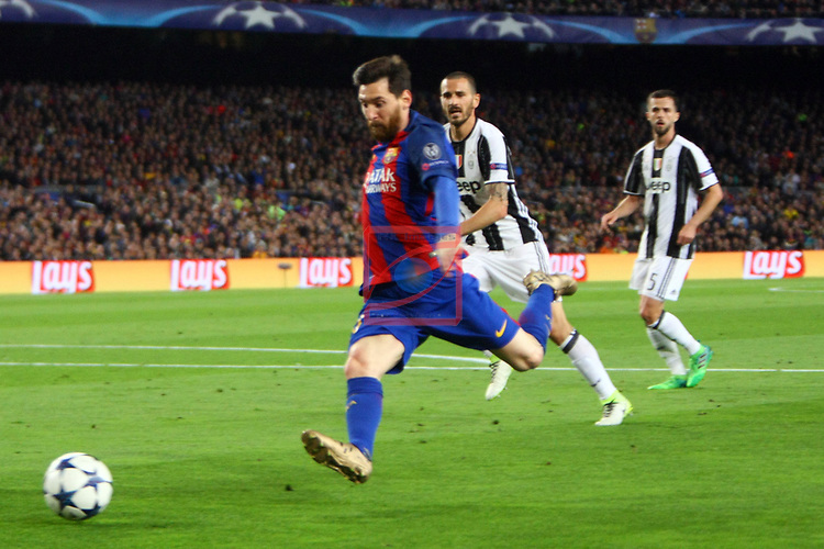UEFA Champions League 2016/2017.<br /> Quarter-finals 2nd leg.<br /> FC Barcelona vs Juventus Football Club: 0-0.<br /> Lionel Messi.